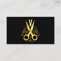 Hair Stylist Gold Scissor & Beauty Salon Business Card