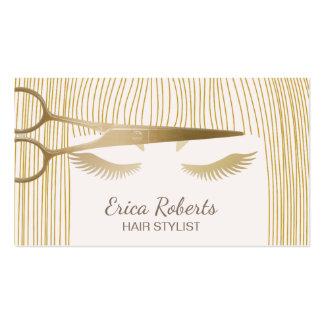 Hair Stylist Gold Scissor & Girl Beauty Salon Business Card