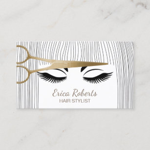 Hair stylist business cards zazzle hair stylist gold scissor girl hair salon business card wajeb Choice Image