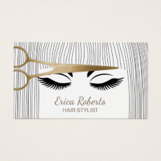 Hair Stylist Gold Scissor & Girl Hair Salon Business Card at Zazzle