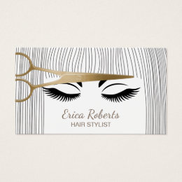 Hairstylist business cards templates zazzle hair stylist gold scissor girl hair salon business card colourmoves