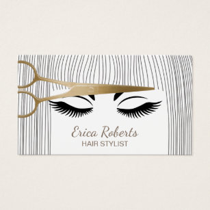 Hair stylist business cards zazzle hair stylist gold scissor girl hair salon business card accmission Images