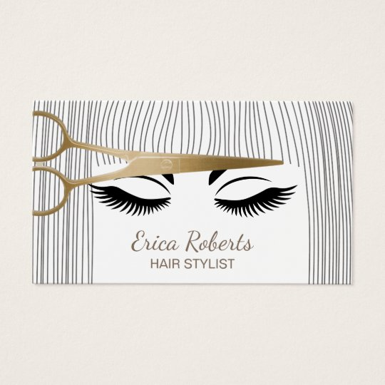 Hair Stylist Gold Scissor Amp Girl Hair Salon Business Card
