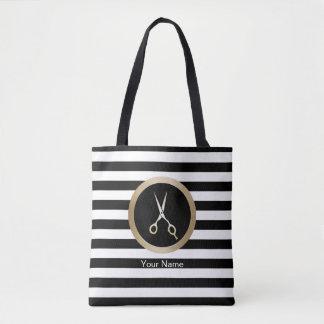Hair Stylist Gold Scissor Modern Black Stripes Tote Bag