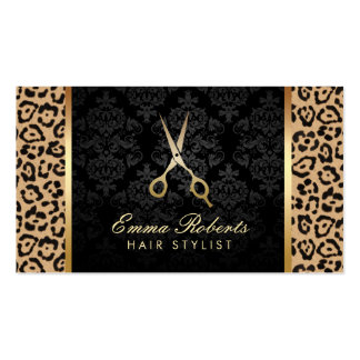 Hair Stylist Gold Scissor Modern Leopard Print Business Card