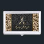 """Hair Stylist Gold Scissor Modern Leopard Print Business Card Holder<br><div class=""""desc"""">Hair Stylist Gold Scissor Modern Leopard Print Elegant Damask Business Card Holder.</div>"""