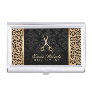 Hair stylist business card holders cases zazzle hair stylist gold scissor modern leopard print business card holder colourmoves Images