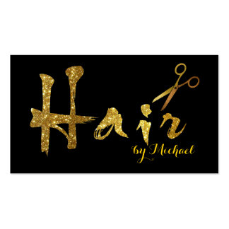 Hair Stylist Gold Scissors Script Appointment #4 Business Card