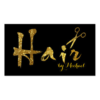 Hair Stylist Gold Scissors Script Appointment Business Card