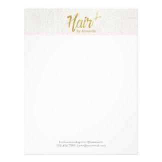 Hair Stylist Gold Script Elegant Linen Letterhead