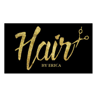 Hair Stylist Gold Script Modern Elegant Salon Business Card