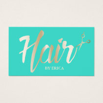 Hair Stylist Gold Script Modern Turquoise Business Card
