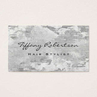 Hair Stylist Grey Wall Brick Design Modern Chic Business Card