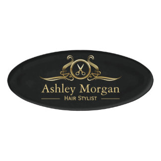 Hair Stylist Hair Cut Luxury Gold Scissors Logo Name Tag
