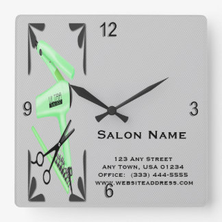 Hair Stylist Hair Dryer Curling Iron Scissors Square Wall Clock
