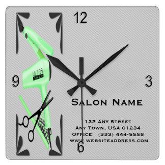 Hair Stylist Hair Dryer Curling Iron Scissors Square Wall Clock