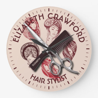 Hair Stylist Hairdresser Or Beauty Salon With Name Large Clock