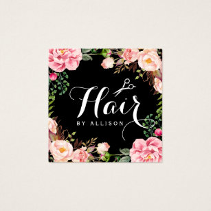 Hairdresser business cards templates zazzle hair stylist hairdresser scissors floral wrapping square business card fbccfo Image collections