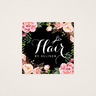 Hair Stylist Hairdresser Scissors Floral Wrapping Square Business Card