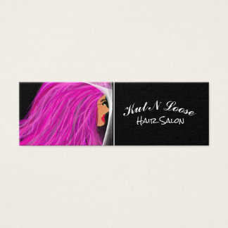 Hair Stylist Hot Pink Lady Mini Business Card