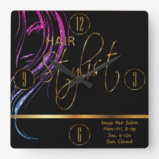 Hair Stylist in a Girly Glitter Haircolor Square Wall Clock