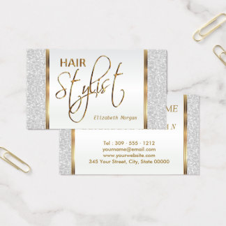 Hair Stylist in a White Glitter Business Card