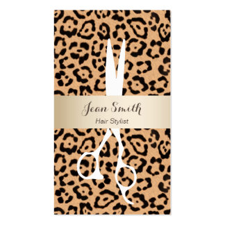 Hair Stylist Leopard Print Gold Stripe Appointment Business Card