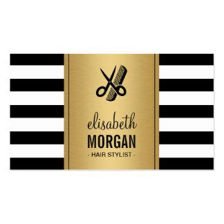 Hair Stylist Logo Elegant Gold Black White Stripes Double-Sided Standard Business Cards (Pack Of 100)