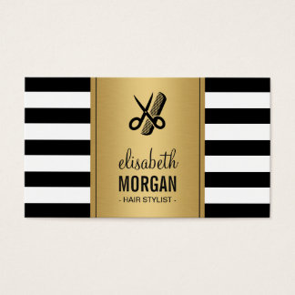 Hair Stylist Logo Elegant Gold Black White Stripes Business Card