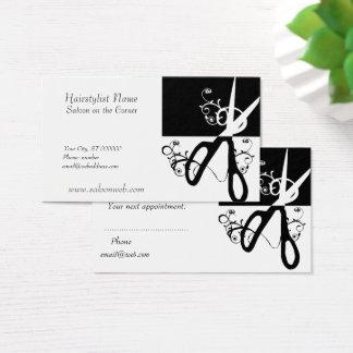 Hair Stylist Magic Swirls Black White Scissor Business Card