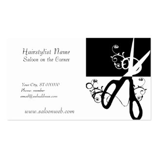 Hair Stylist Magic Swirls  Black White Scissor s Business Card