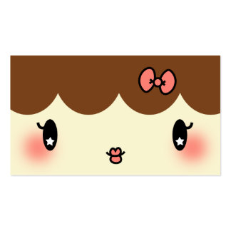 hair stylist makeup artist adorable cartoon girl Double-Sided standard business cards (Pack of 100)