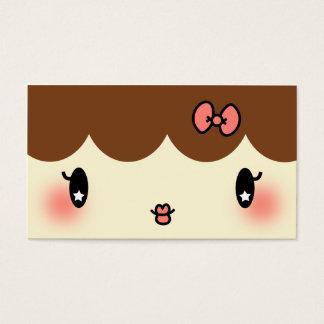 hair stylist makeup artist adorable cartoon girl business card
