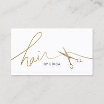 Hair Stylist Minimalist Gold Script & Scissor Business Card