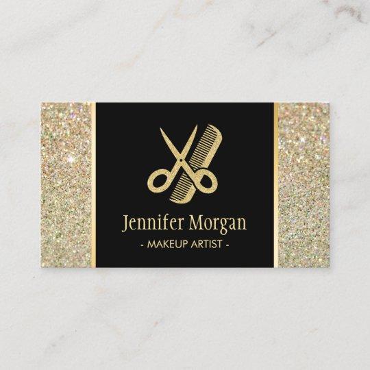 Hair stylist modern gold glitter scissors comb business card hair stylist modern gold glitter scissors comb business card colourmoves