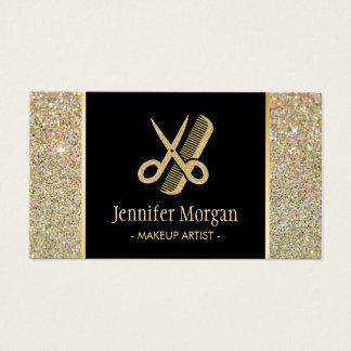 Hair Stylist Modern Gold Glitter Scissors Comb Business Card