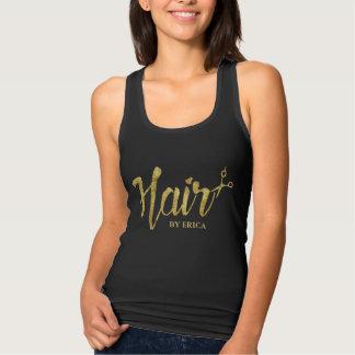 Hair Stylist Modern Gold Script Beauty Salon Tank Top