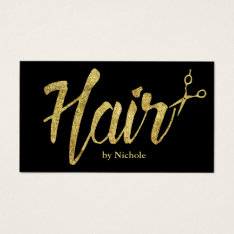 Hair Stylist Modern Gold Script Salon Appointment Business Card at Zazzle