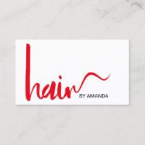 Hair Stylist Modern Red Script Appointment