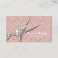 Hair Stylist Modern Rose Gold Glitter Hair Salon Business Card