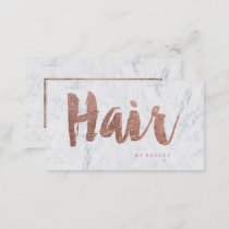 Hair stylist modern rose gold typography marble business card