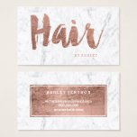 "Hair stylist modern rose gold typography marble business card<br><div class=""desc"">A modern,  stylish hair stylist business card with modern hand lettering style brush typography in faux rose gold foil on a trendy and elegant white marble background. If you need any customization,  don&#39;t hesitate in contacting me</div>"