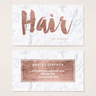 girly_trend Hair stylist modern rose gold typography marble business card