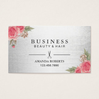 Hair Stylist Modern Salon Floral Appointment Business Card