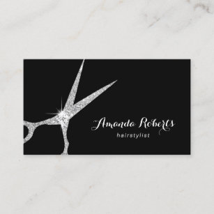 Hairstylist business cards templates zazzle hair stylist modern silver glitter scissor salon business card reheart Image collections