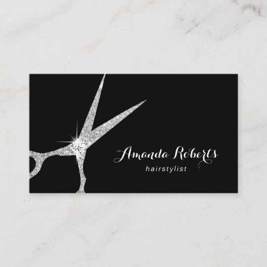 hair stylist modern silver glitter scissor salon business card - Salon Business Cards
