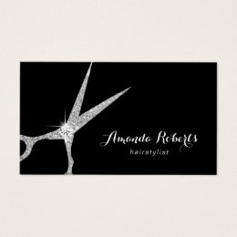 Hairdresser business cards templates zazzle hair stylist modern silver glitter scissor salon business card colourmoves