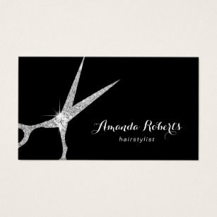 Hairdresser business cards templates zazzle hair stylist modern silver glitter scissor salon business card fbccfo Image collections
