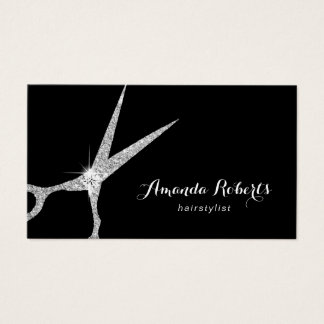 Hair Stylist Modern Silver Glitter Scissor Salon Business Card