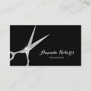 Silver business cards zazzle hair stylist modern silver glitter scissor salon business card colourmoves